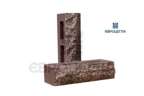 Кирпич для забора пустотелый скала 250x100x65мм шоколад