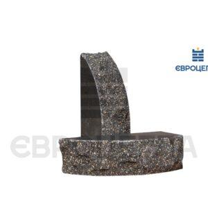 Кирпич для забора скала полукруглый 230x100x65мм черный