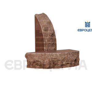 Кирпич для забора скала полукруглый 230x100x65мм коричневый